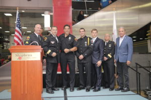 Chief Don Stephens, Lou Ferrigno, Chris Stephens, John Maatta, and members of the Rosemont Public Safety Department